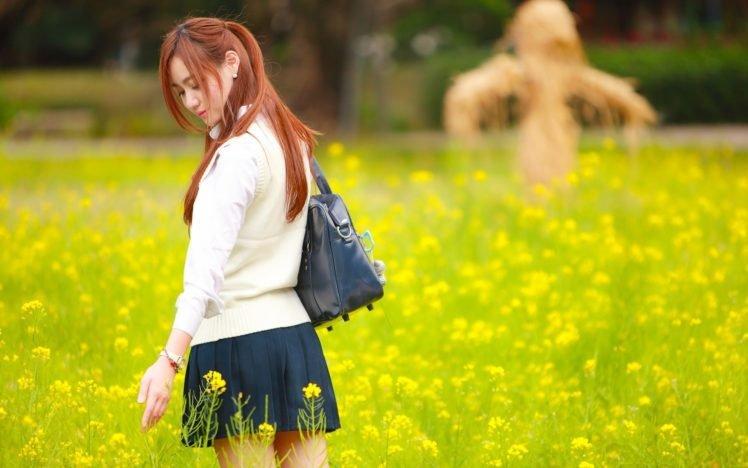 women, Model, Redhead, Long hair, Asian, Closed eyes, Women outdoors, Nature, Field, Yellow flowers, Sweater, Bag, Short skirt, Park HD Wallpaper Desktop Background