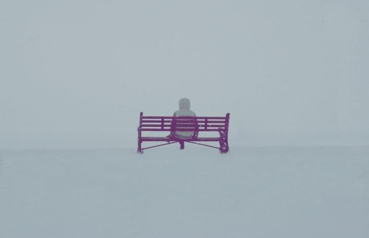 bench, People, Landscape, Winter, Snow HD Wallpaper Desktop Background