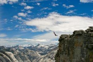 men, Rock, Clouds, Nature, Cliff