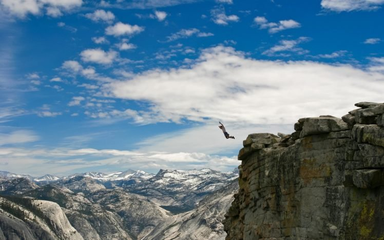 men, Rock, Clouds, Nature, Cliff HD Wallpaper Desktop Background