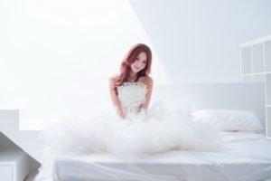women, Model, Asian, White dress