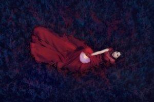 model, Asian, Red dress, Women