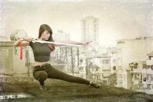 sword, Women, Asian, Model