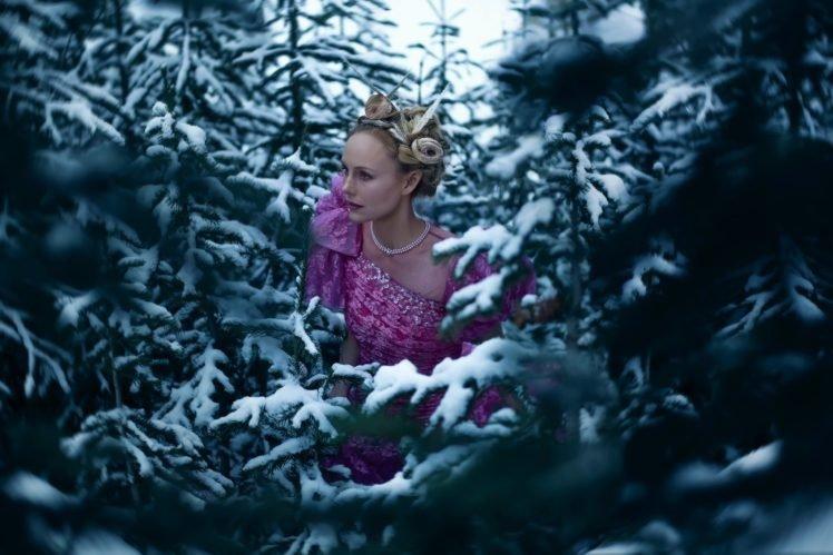 snow, Model, Women, Women outdoors, Trees HD Wallpaper Desktop Background