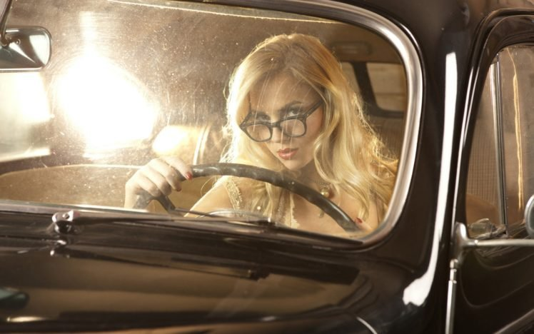 Ancilla Tilia, Model, Women, Car, Black cars, Glasses HD Wallpaper Desktop Background