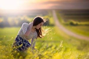 model, Jake Olson, Nebraska, Women outdoors, Yellow flowers, Windy