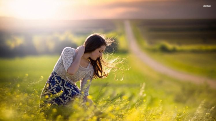 model, Jake Olson, Nebraska, Women outdoors, Yellow flowers, Windy HD Wallpaper Desktop Background