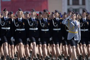 military, Victory Day, Moscow, Russia, Group of women