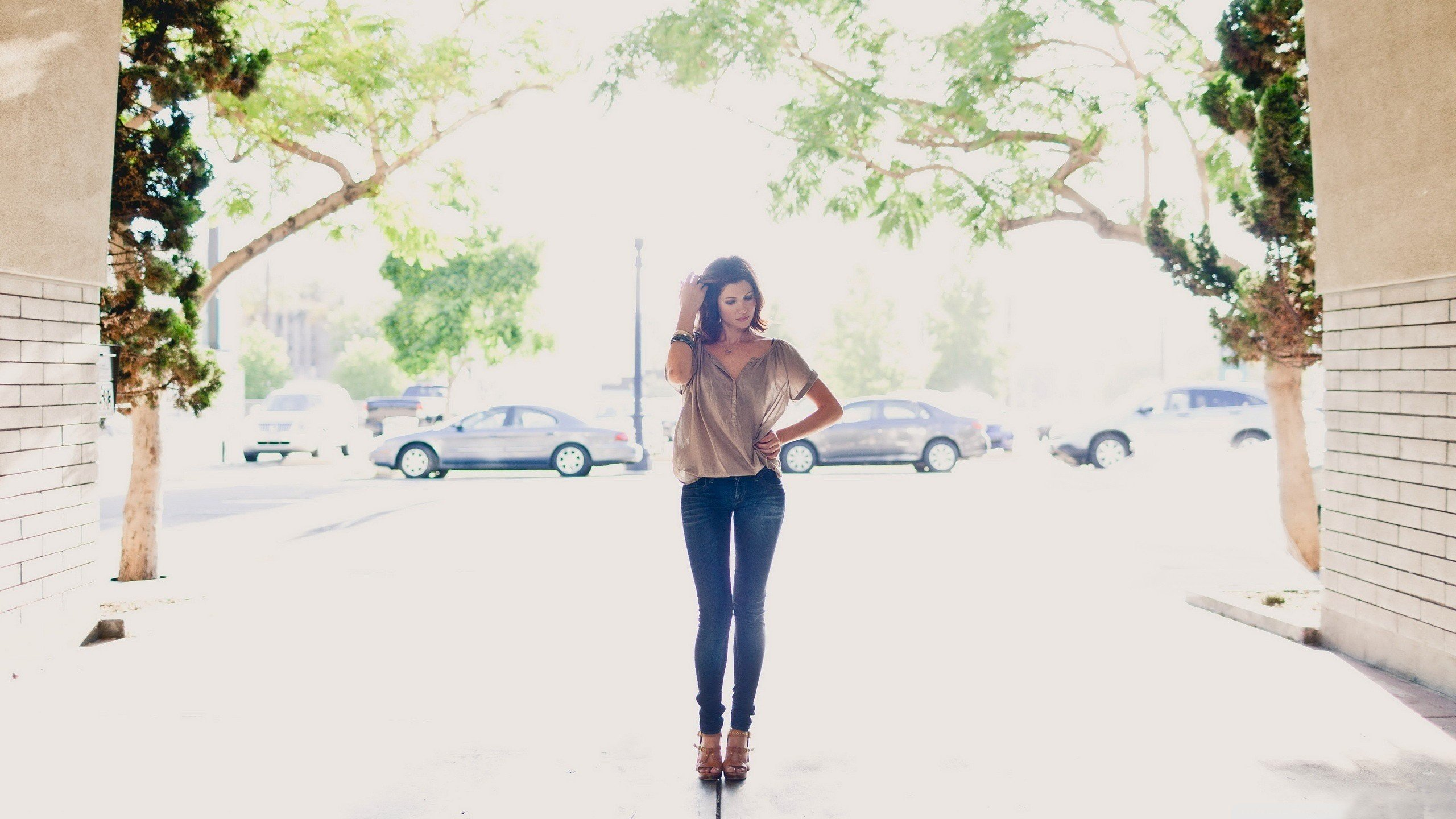 women, Model, Car, Walls, Trees, Women outdoors Wallpaper