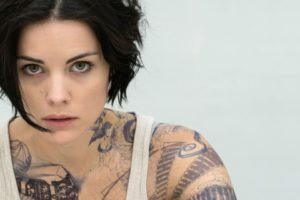 women, Model, Brunette, Face, Looking at viewer, Tattoo, Jaimie Alexander, Actress, Tank top, Brown eyes, Simple background, Open mouth, Short hair
