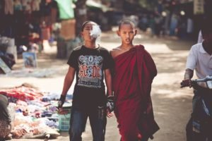 children, Monks, Burma