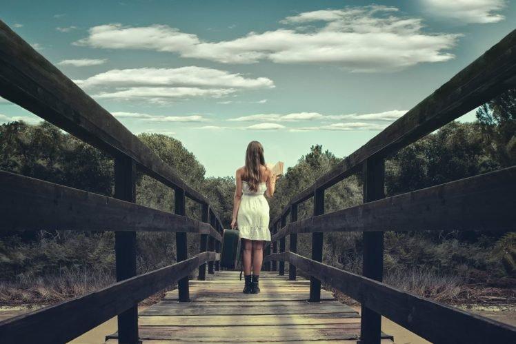 women, Model, Nature, Suitcases, Bridge HD Wallpaper Desktop Background