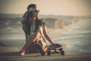 women, Skateboarding, Sports, Beach, Pier