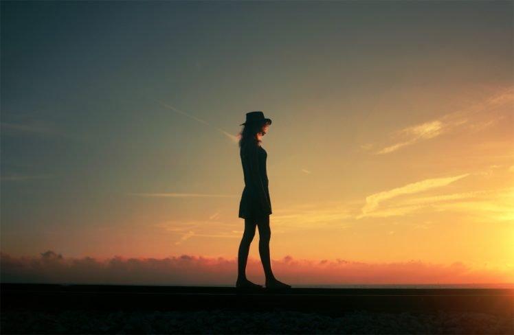 women, Sunset, Nature HD Wallpaper Desktop Background