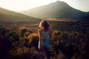 women, Nature, Mountain, Grass, Sun