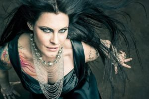 women, Floor Jansen, Singer, Nightwish, Blue eyes, Tattoo, Collars, Brunette, Long hair, Nose rings, Rings