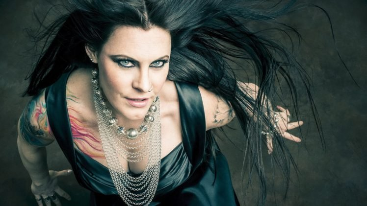 women, Floor Jansen, Singer, Nightwish, Blue eyes, Tattoo, Collars, Brunette, Long hair, Nose rings, Rings HD Wallpaper Desktop Background