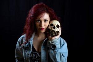 skull, Women, Model, Redhead