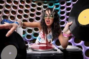 music, Glasses, Turntables, Vinyl, DJ, Women