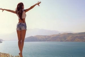 women, Model, Nature, Lake, Mountain, Ballerina