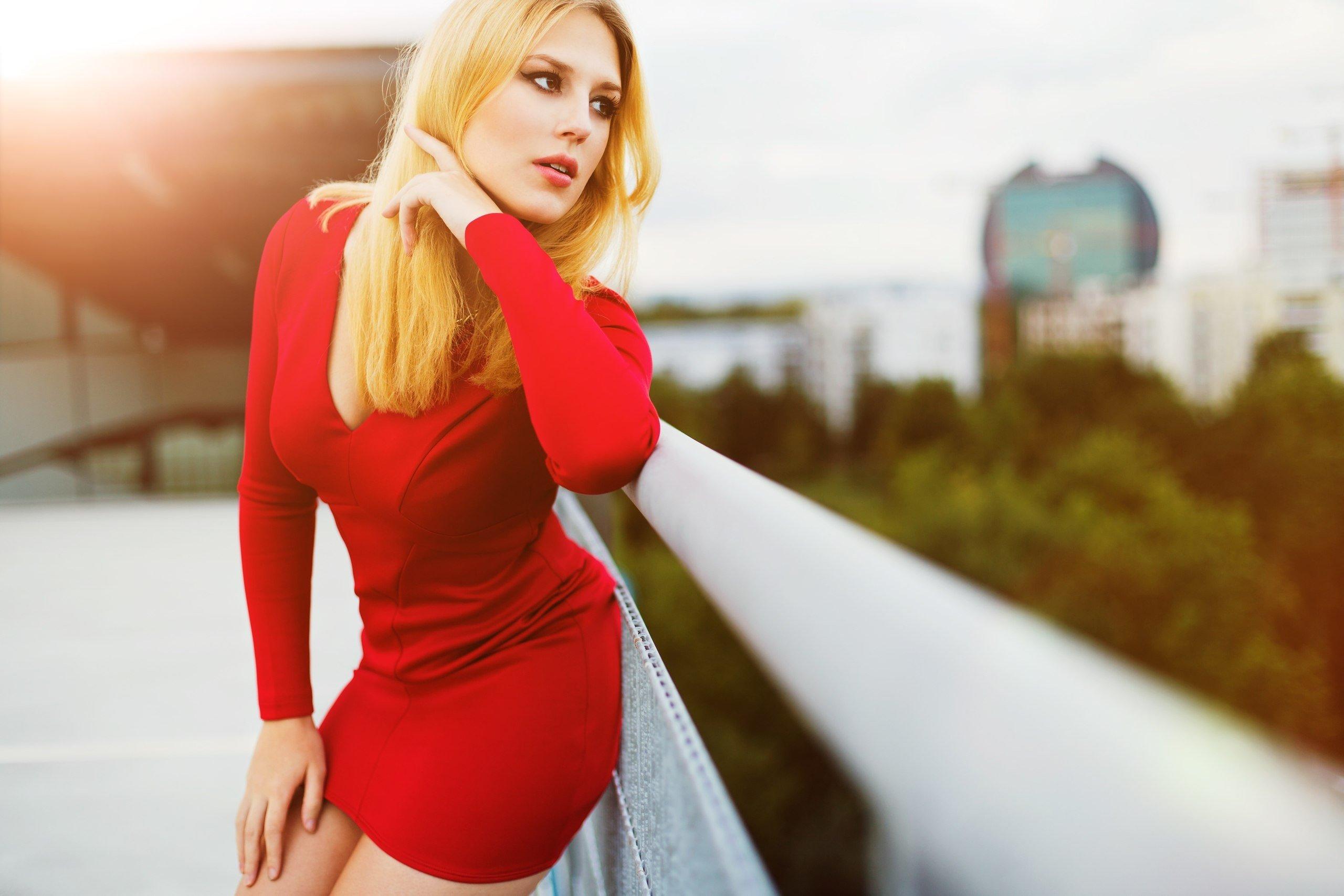 women, Model, Blonde, Red Wallpaper