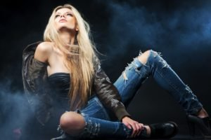 women, Model, Blonde, Smoke, Jeans, Torn jeans