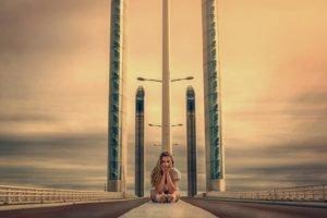 women, Model, Blonde, Bridge