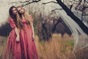 women, Model, Nature, Dry grass, Trees, Dress