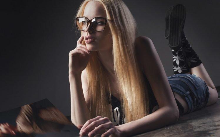 women, Model, Blonde, Glasses HD Wallpaper Desktop Background
