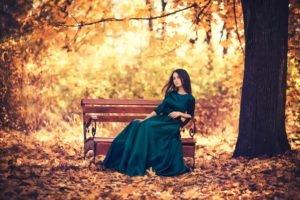women, Model, Trees, Garden, Nature, Brunette