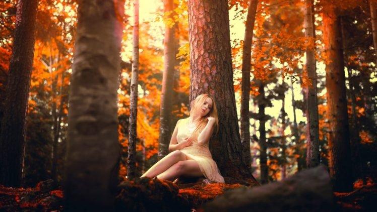 Samantha Meglioli, Women, Model, Blonde, Trees HD Wallpaper Desktop Background