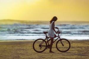 women, Model, Beach, Sea, Bicycle