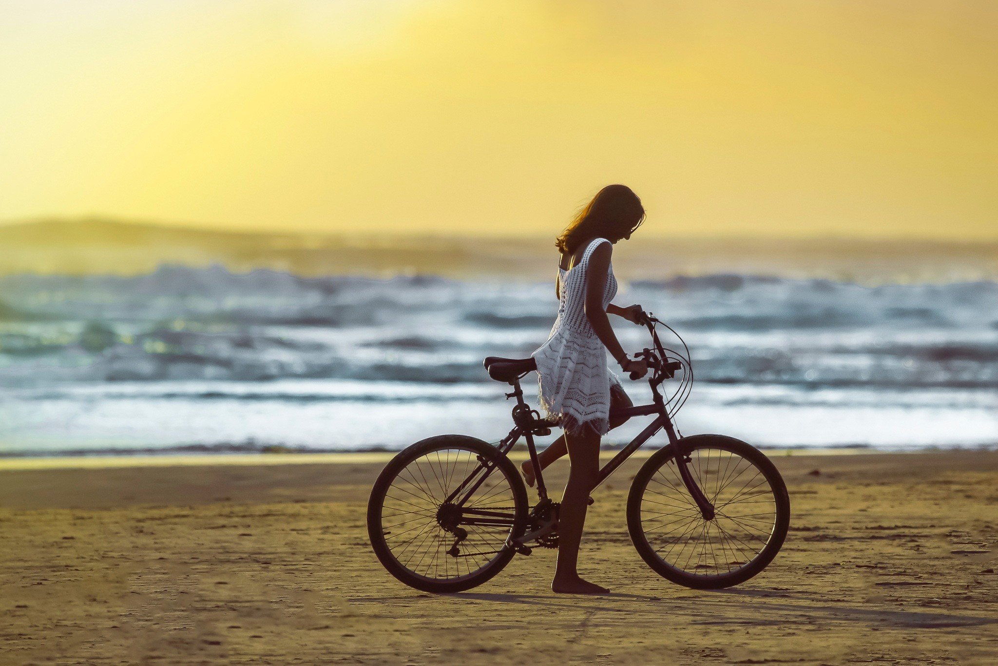 Women, Model, Beach, Sea, Bicycle Hd Wallpapers  Desktop -2995
