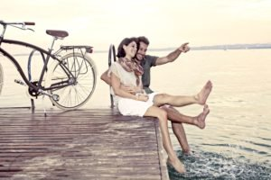 women, Men, Model, Bicycle, Lake