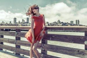 women, Model, City, Wind, Red dress
