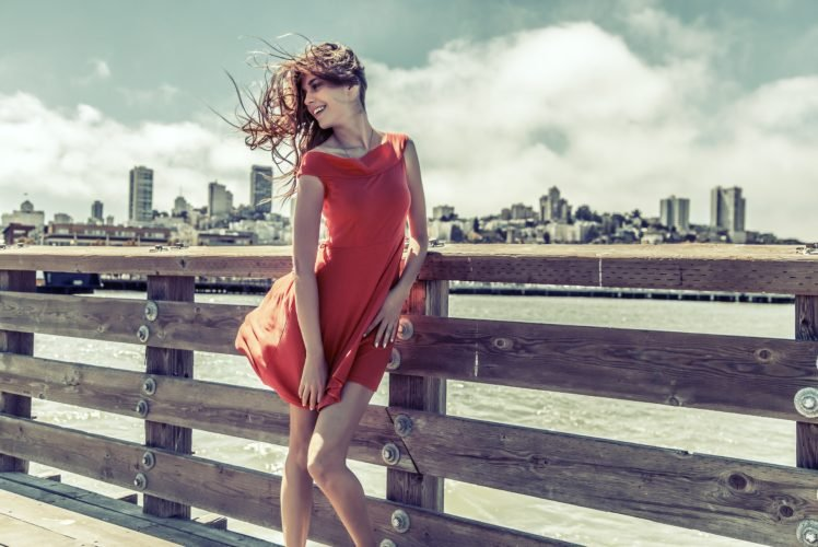women, Model, City, Wind, Red dress HD Wallpaper Desktop Background