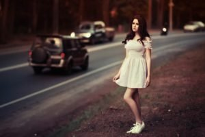 women, Road, Grass, Dress, White dress, Converse, Depth of field