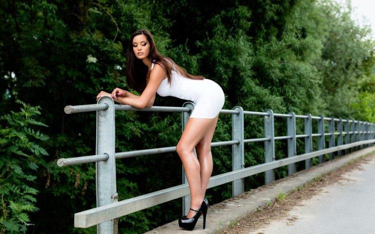 women, Model, Bridge, White dress, High heels, Ricchy ziyou HD Wallpaper Desktop Background