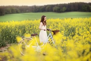 women, Model, Bicycle, Field, Yellow flowers, Rapeseed