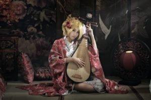 women, Model, Blonde, Biwa, Kimono, Asian, Pipa, Japan