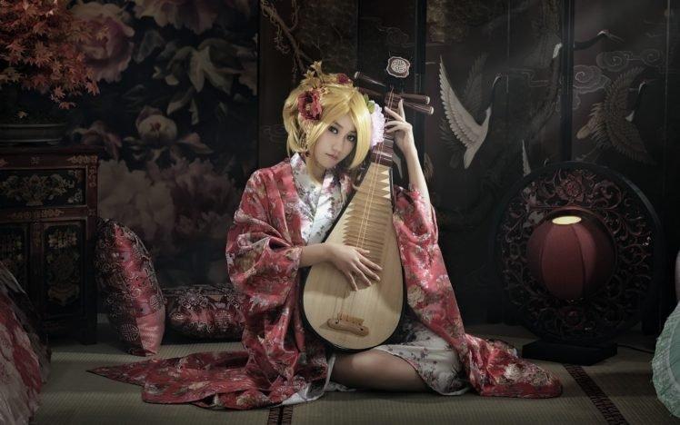 women, Model, Blonde, Biwa, Kimono, Asian, Pipa, Japan HD Wallpaper Desktop Background