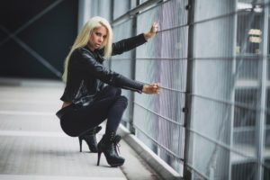 Angela Kutscher, Women, Model, Blonde, Black clothes