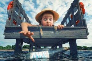 little girl, Dock, Bottles, Digital art, Sea