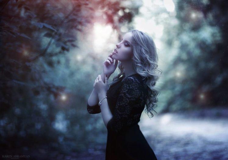 blonde, Dark, Model, Depth of field, Finger on lips HD Wallpaper Desktop Background