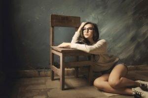 women, Model, Glasses, Walls