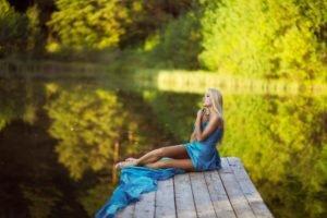women, Model, Blonde, Nature, River, Blue dress