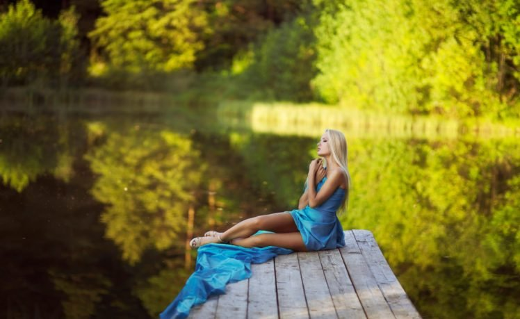 women, Model, Blonde, Nature, River, Blue dress HD Wallpaper Desktop Background