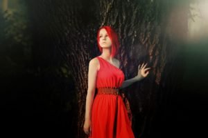 women, Model, Redhead, Red dress, Trees, Cosplay