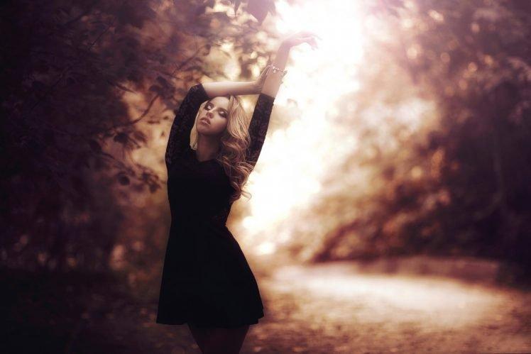 women, Model, Blonde, Road, Black dress HD Wallpaper Desktop Background