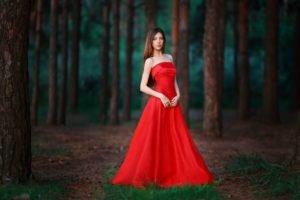 women, Model, Trees